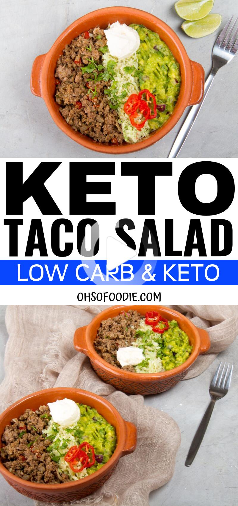 Keto Tacosalat Fur Den Schnellen Fettabbau Ich Bin So Froh Dass Ich Diese Einfach Low Carb Taco In 2020 Low Carb Taco Salad Keto Taco Salad Low Carb Tacos
