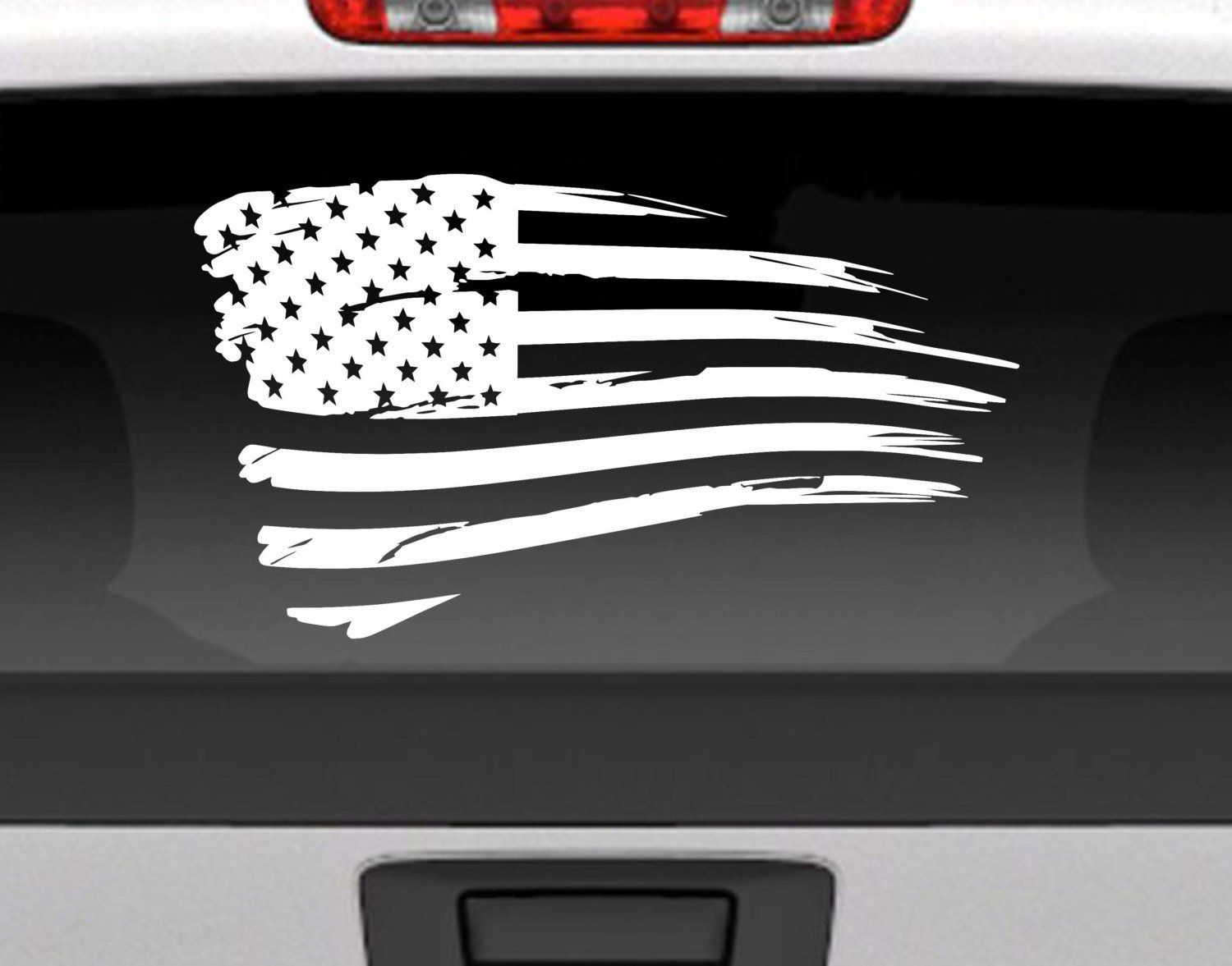 Car Truck Window Wall Decor Distressed Tattered American Flag Decal USA
