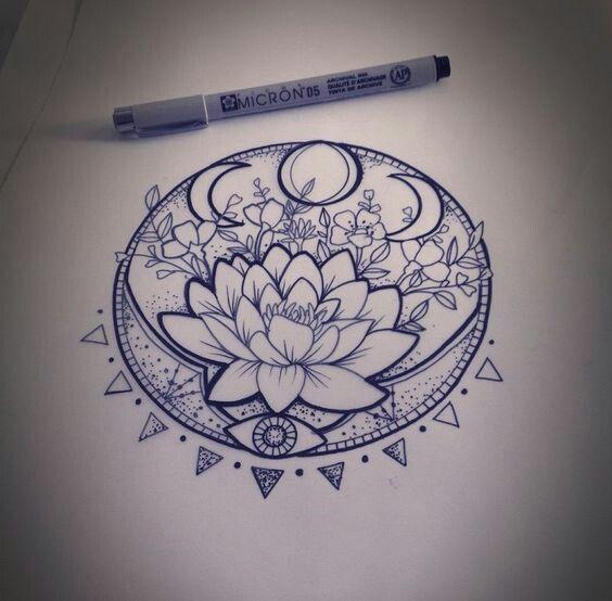 Lotus And Moon Phase Tattoo Tattoos Cool Tattoos Trendy Tattoos
