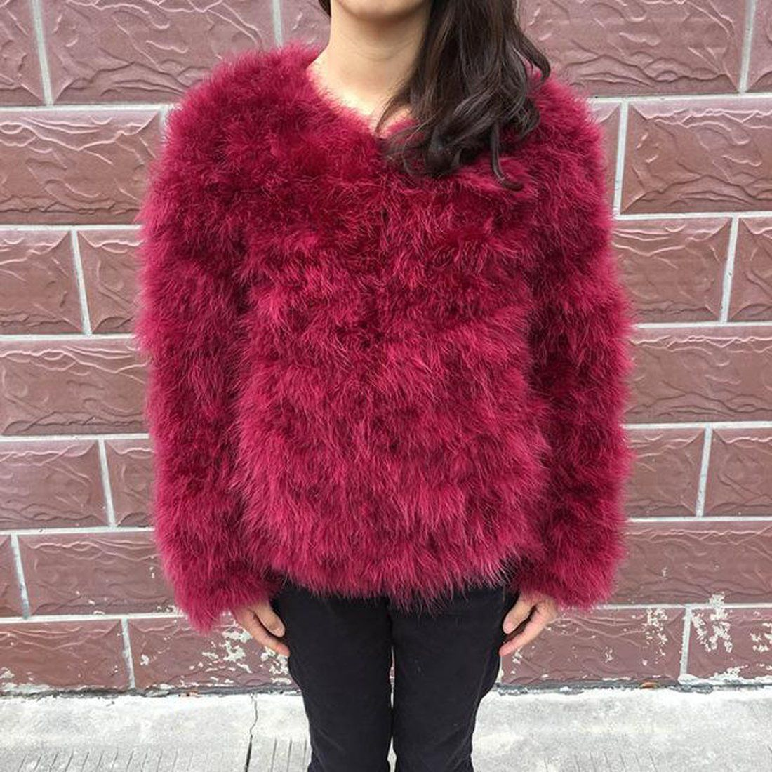 Women S Coat Real Fur Ostrich Feather For Winter Real Fur Coat Max Fashion Winter Coats Women