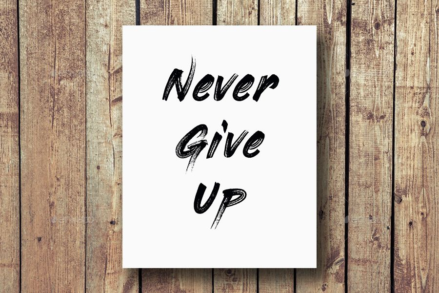 Never gives up Inspirational Wall Art Print Motivational Quote Poster Decor Gift