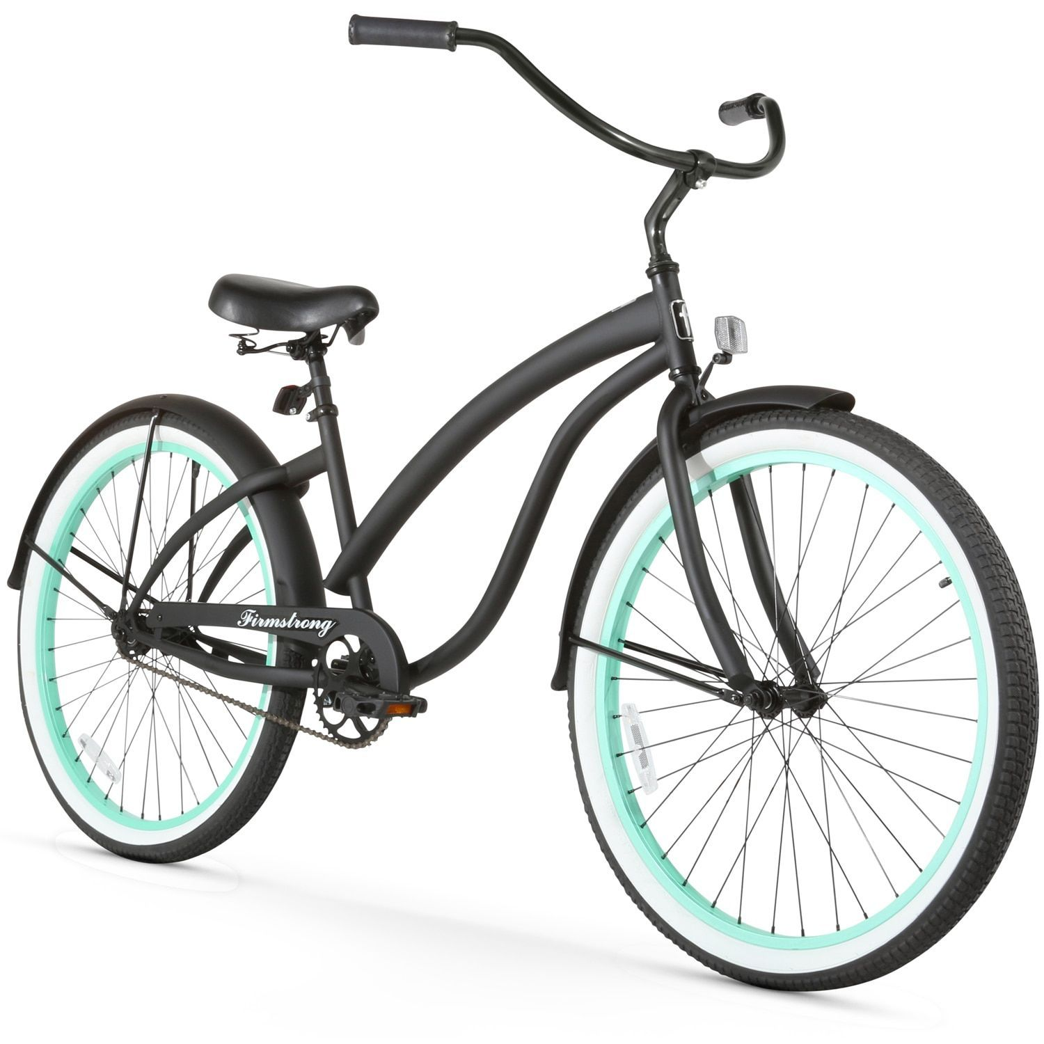 26 firmstrong bella fashionista single speed women s beach cruiser bicycle matte with green rims