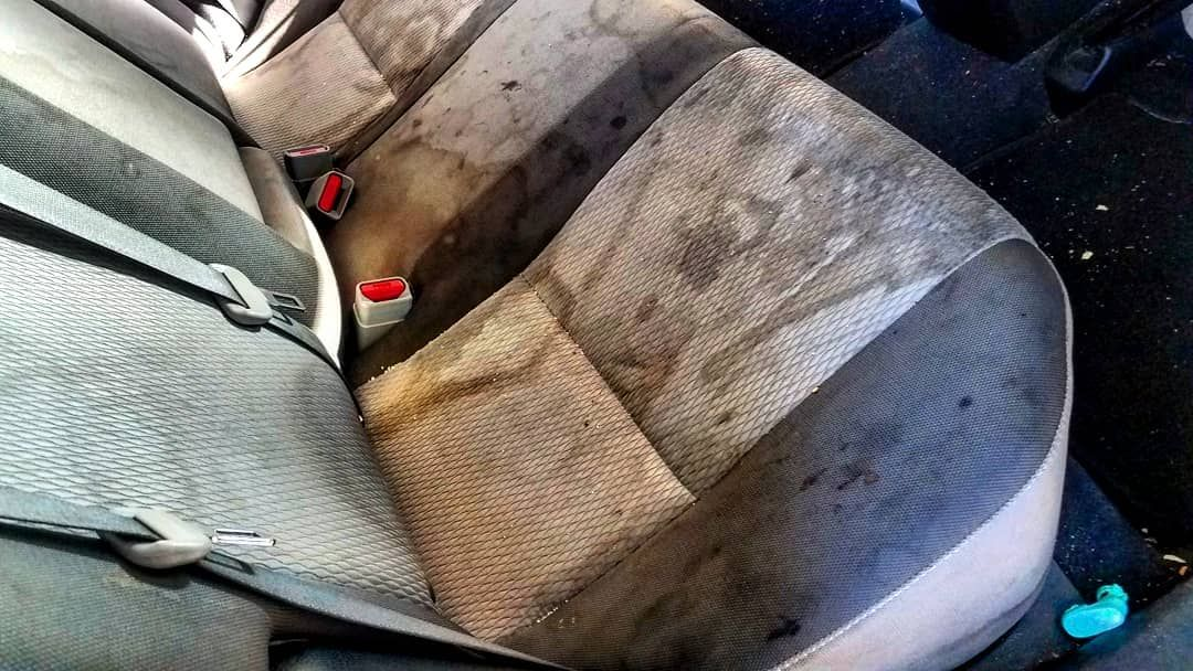 Before and after shampoo upholstery cleaning