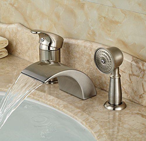 Rozin Brushed Nickel 3pcs Waterfall Spout Single Handle Bathtub