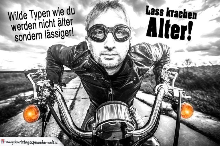 Geburtstag Mann - Biker auf Motorrad   Geburtstagssprüche