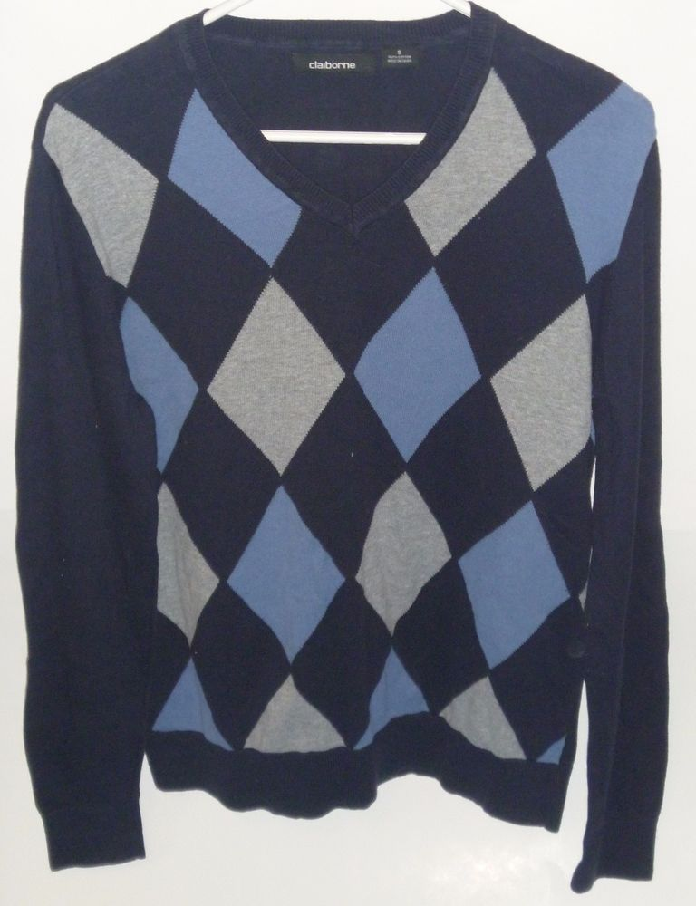 Men's Claiborne #VNeck #Argyle Sweater Small 100% #Cotton NEW Blue Gray #Claiborne #VNeck