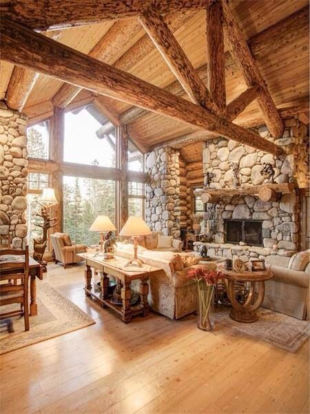 Log cabin great room pole barn home pinterest log for Log pole barn