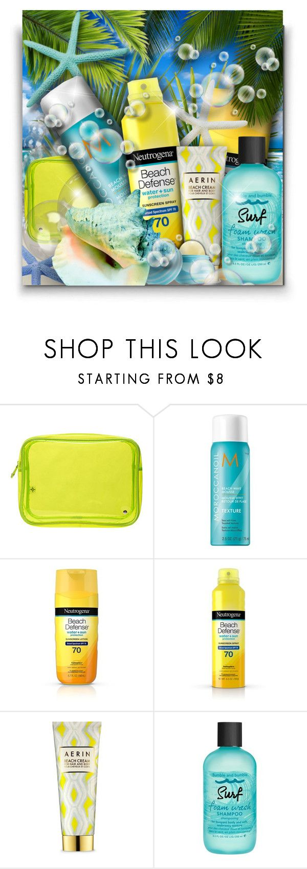 """Beach Beauty! - Contest!"" by asia-12 ❤ liked on Polyvore featuring beauty, Stephanie Johnson, Moroccanoil, Neutrogena, AERIN and Bumble and bumble"