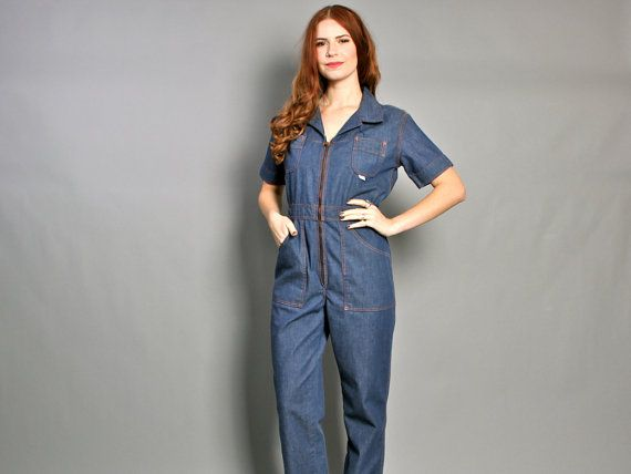 fa6e390164b vintage 70s DENIM JUMPSUIT   Boho Blue Jean Wide Leg Mechanic Coveralls