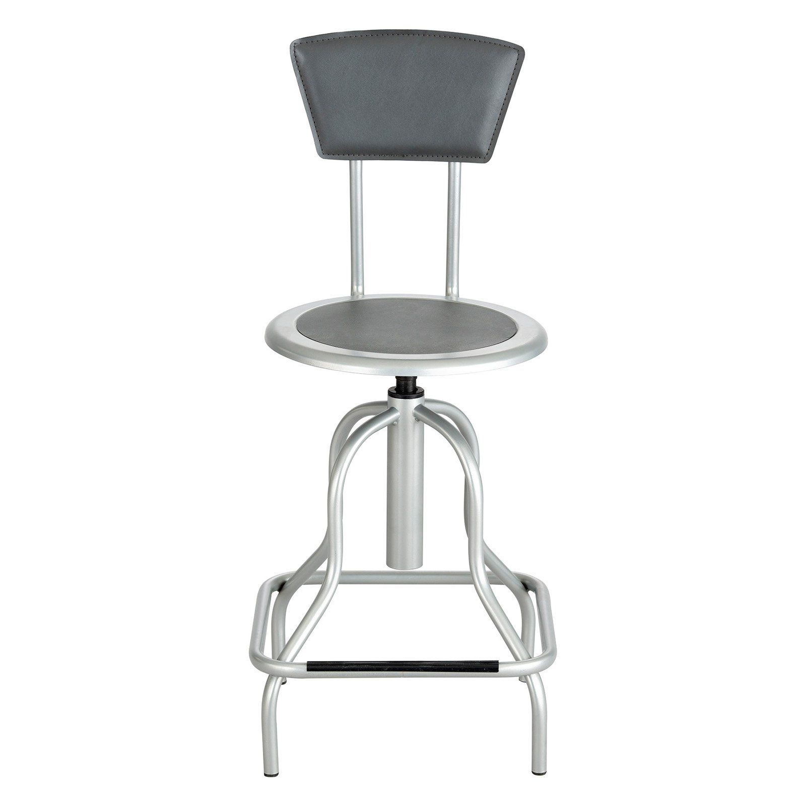 Safco Diesel High Base Stool With Back Silver Stools With Backs