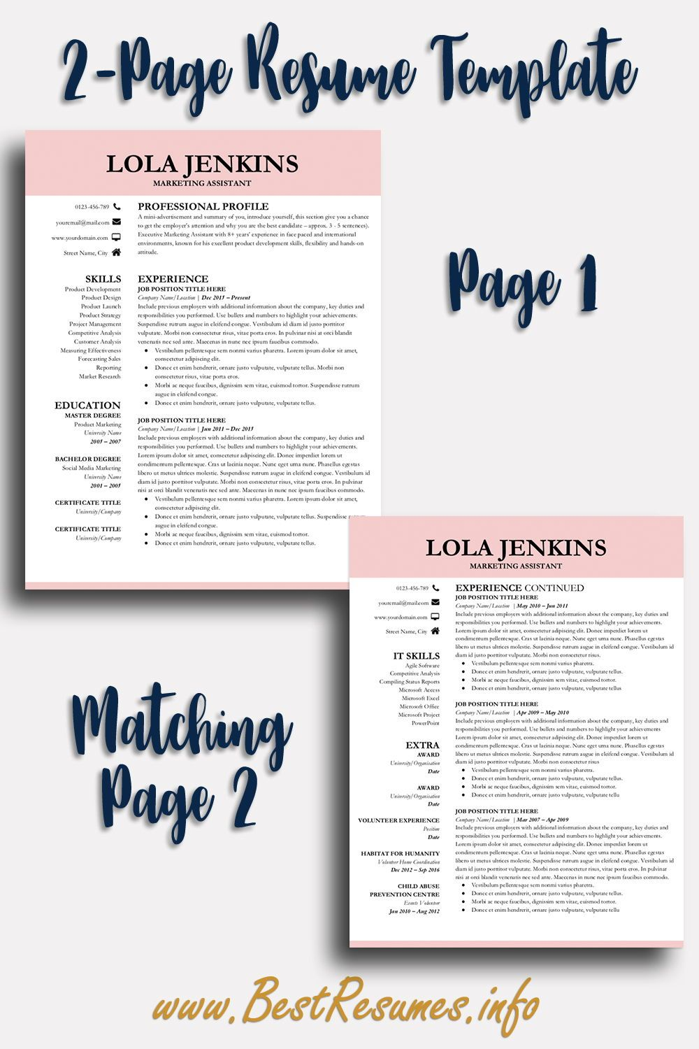 Professional Resume Template Lola Jenkins - Teacher resume template, Resume template professional, Business resume template, Job resume template, Creative resume template layout, Creative resume templates - Resume Template Lola Jenkins  A modern professional resume template for Google Docs, very easy to edit resume template! Check more here