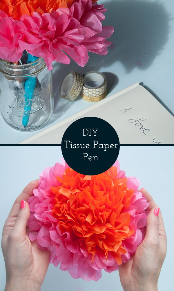 Colorful tissue paper flower pen perfect with a guest book or as a colorful tissue paper flower pen perfect with a guest book or as a party favor maker crate mightylinksfo