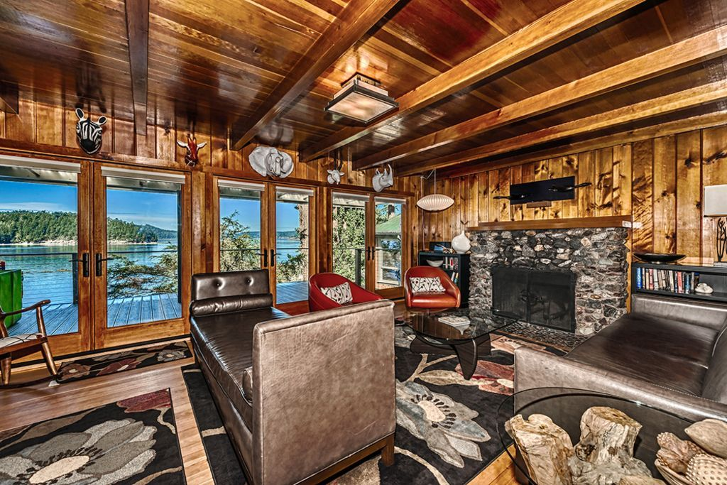 Cozy Up By The Electric Fireplace While You Admire The Puget Sound