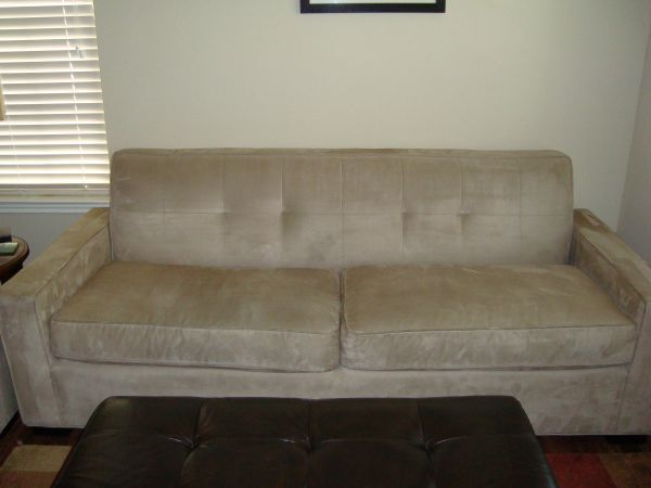 Mitchell Gold Microsuede Sofa In Darryls Garage Sale In Atlanta Ga For 200 Storehouse Microsuede Sofa 84 Long 35 Deep Sofa Sale Garage Sales Microsuede