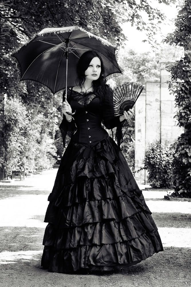 images of victorian goth women in black | victorian girl in black dress