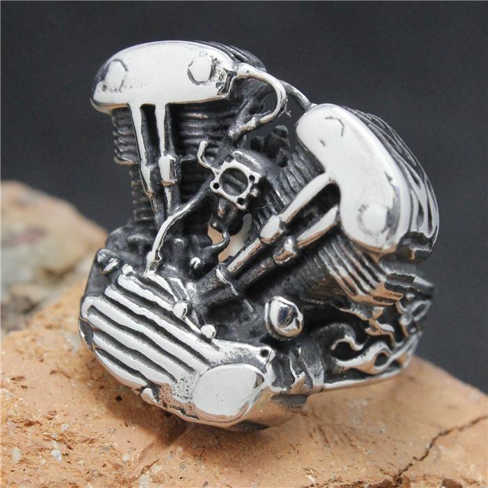 2015 freddo dell'acciaio inossidabile 316l argento biker anello motore mens motociclista motore party band anello