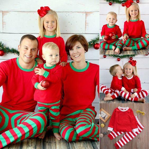 6aaac0be4 Cute Christmas Kids Adult Family Pajamas Set Striped Sleepwear ...