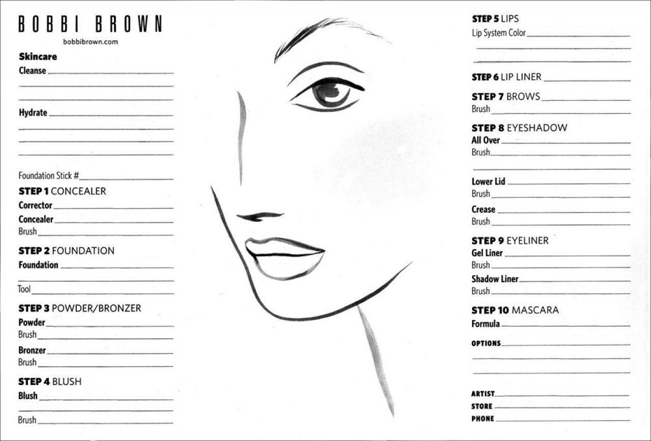 Blank Bobbi Brown Makeup Face Template Make Up Lookscosmetics