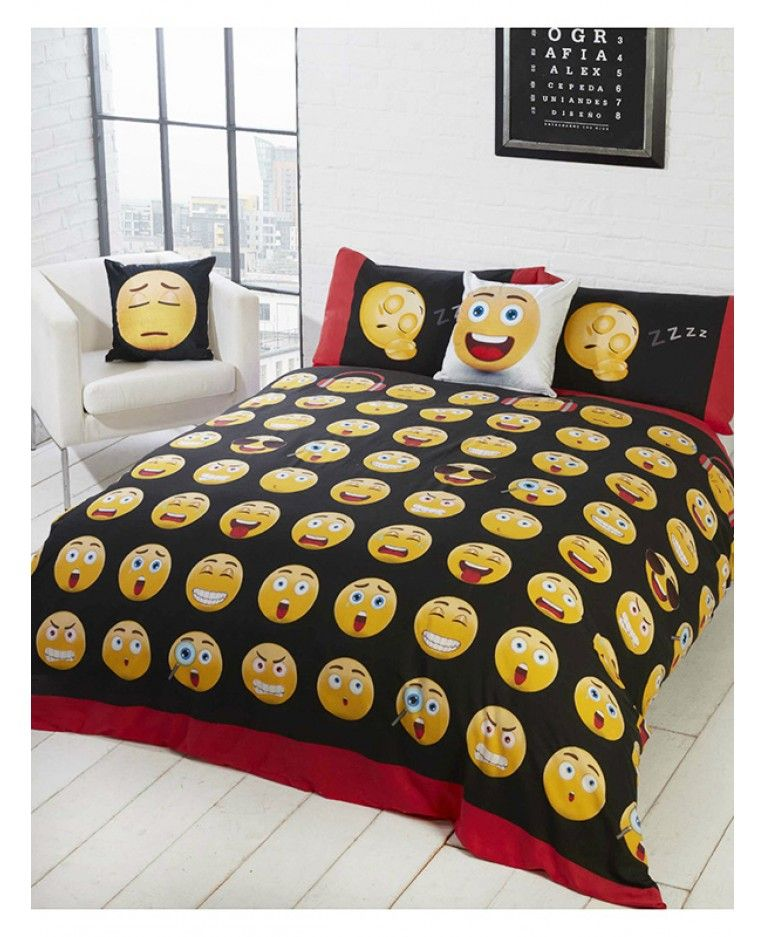 This Fun Emoji Icons Single Or Double Duvet Cover Set Features All Your Favourite Faces