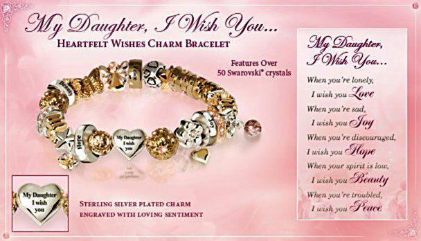 Heartfelt Wishes Swarovski Crystal Daughter Charm Bracelet | gifts