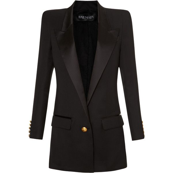 Balmain Long Square Shoulder Single Button Blazer ($860) ❤ liked on Polyvore featuring outerwear, jackets, blazers, balmain, coats, black, wool blazer, long blazer, one button blazer and balmain jacket