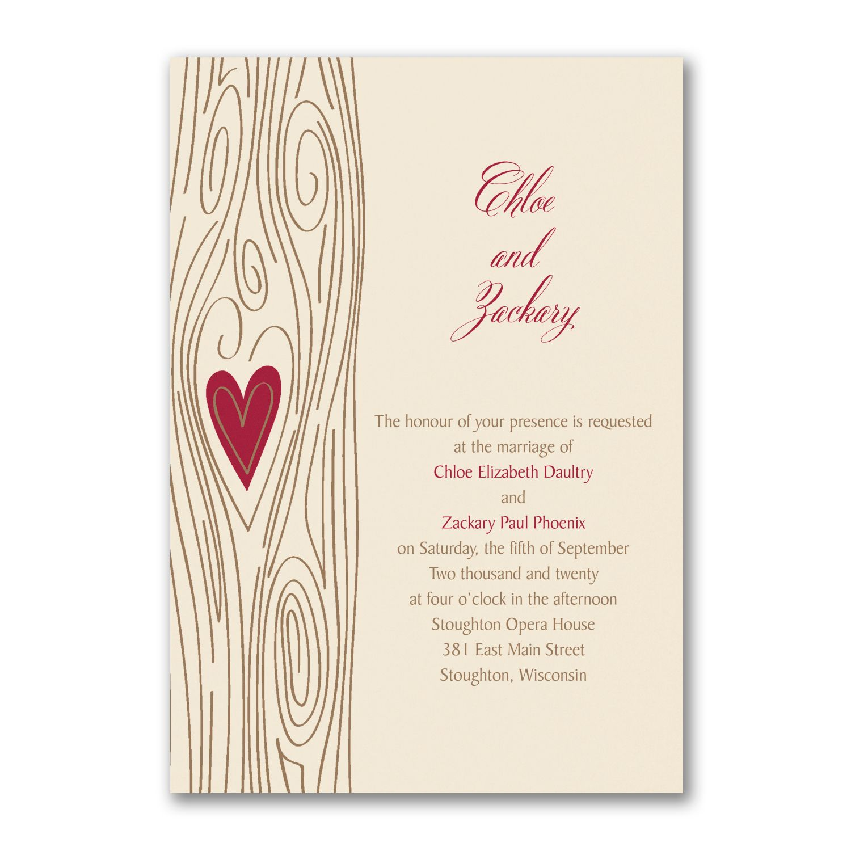 Carlson Craft Pocket Wedding Invitations: Woodsy Romance - Invitation