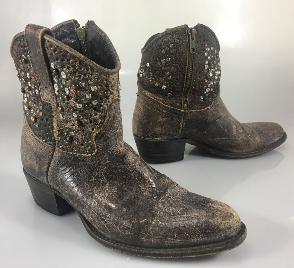 f6fcba3e34e6 Frye Womens 6M Deborah Studded Distress Brown Leather Cowboy Ankle Boots  77861  Frye  CowboyBoots  CasualOutdoorParty