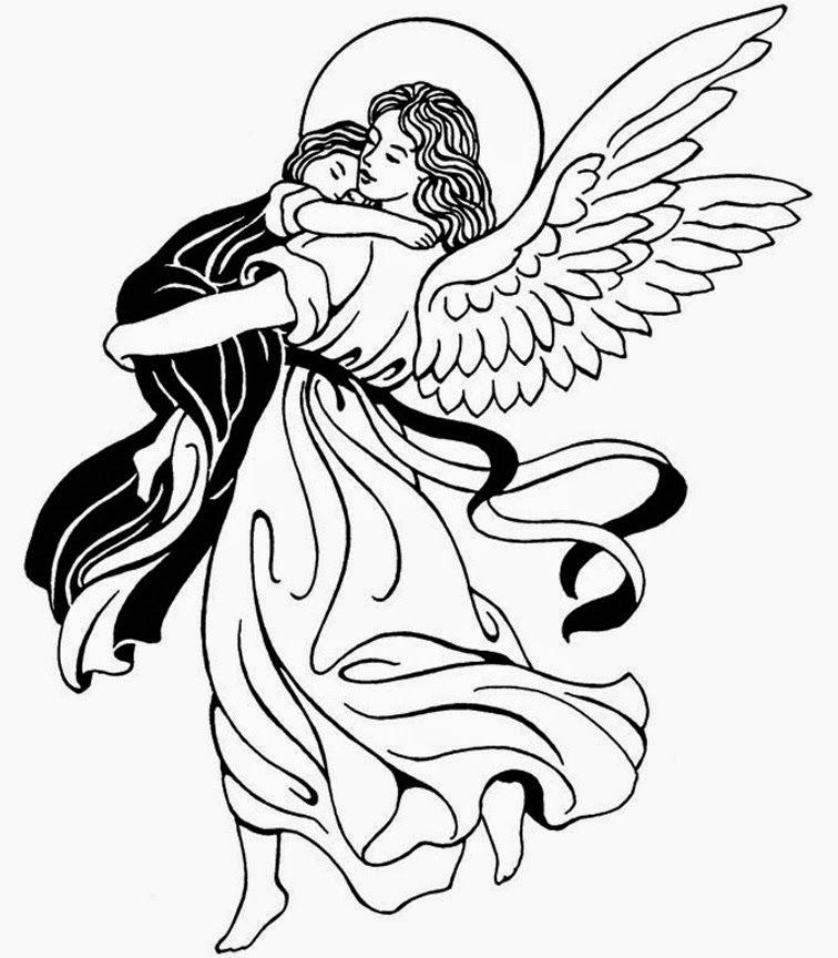 Dibujos De Angeles De Navidad Para Pintar.Oraciones Infantiles El Angel De La Guarda Imagenes Para
