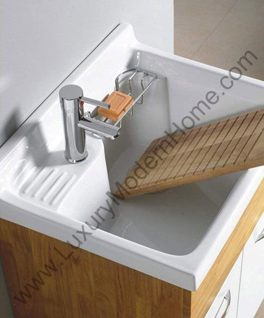 small laundry sink - ceramic w scrubbing section | clean out the ...