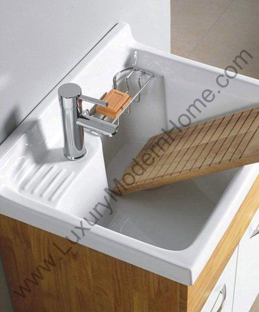 Alexander 24 Utility Sink Laundry Modern Mop Tub Slop Vanity Cabinet