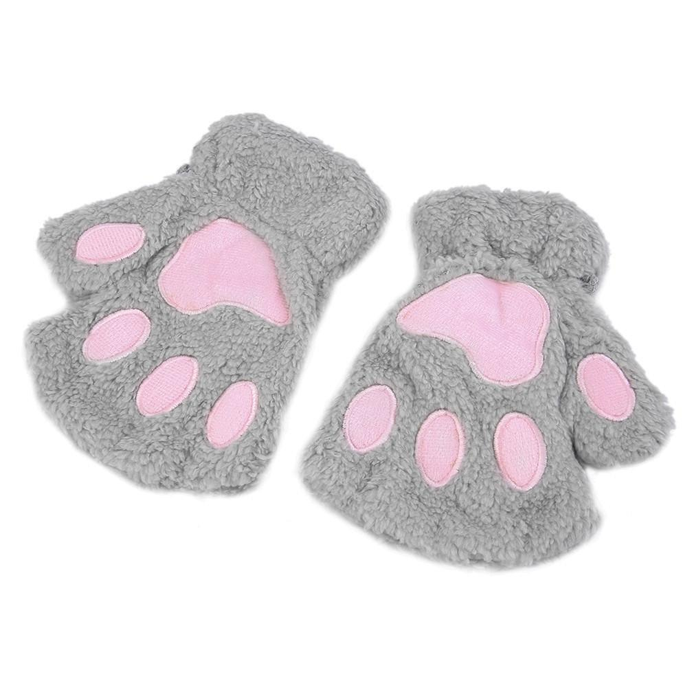 Cute Fluffy Cat Gloves Fingerless Paw Gloves Paw Gloves Cat Paws