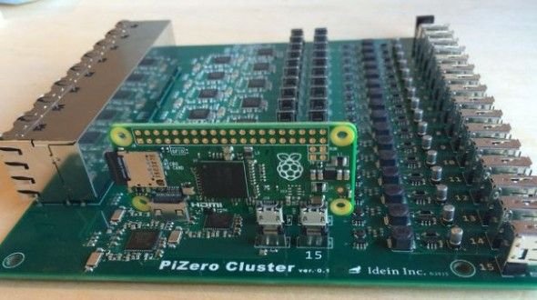 The PiZero Cluster board will hold 16 Pi Zero boards ($5