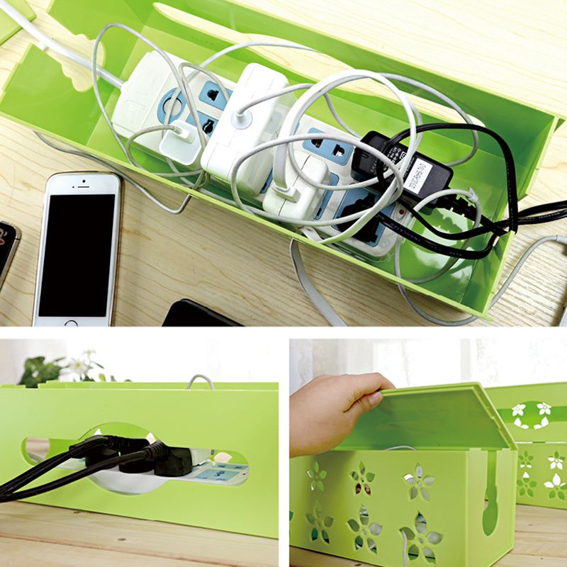 Korean Style Three Size Carved Cable Wire Storage Box Cable Storage Box  Case Wire Management Socket