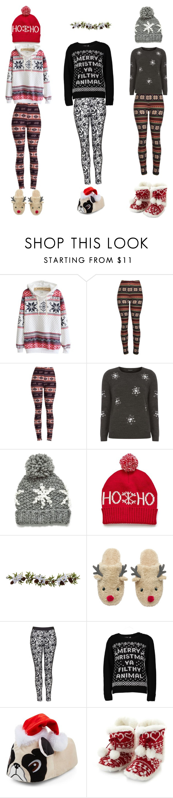 """Christmas clothes!"" by amyhnsn ❤ liked on Polyvore featuring Dorothy Perkins, Nearly Natural, Topshop, Boohoo and Lounge & Sleep"