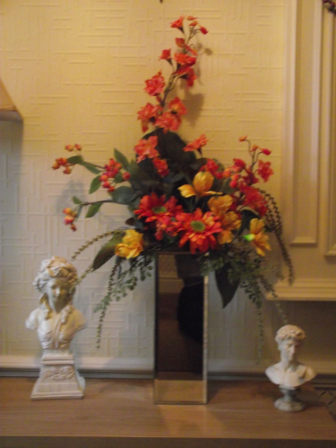 Highly Realistic Top Quality Silk Flower Arrangement In A Tall Top