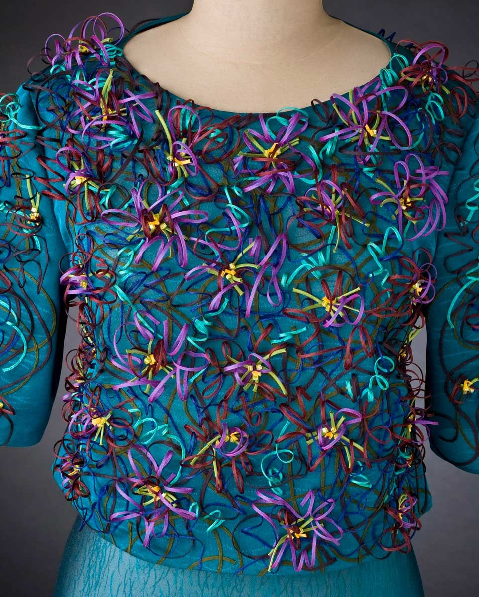 Ann Williamson brilliantly sews the swirling spirals of atomic particles, city map lines and bold rugby stripes into new designs and motifs. Smithsonian Craft2Wear, Oct 1-3, 2015, Washington, DC. http://swc.si.edu/craft2wear