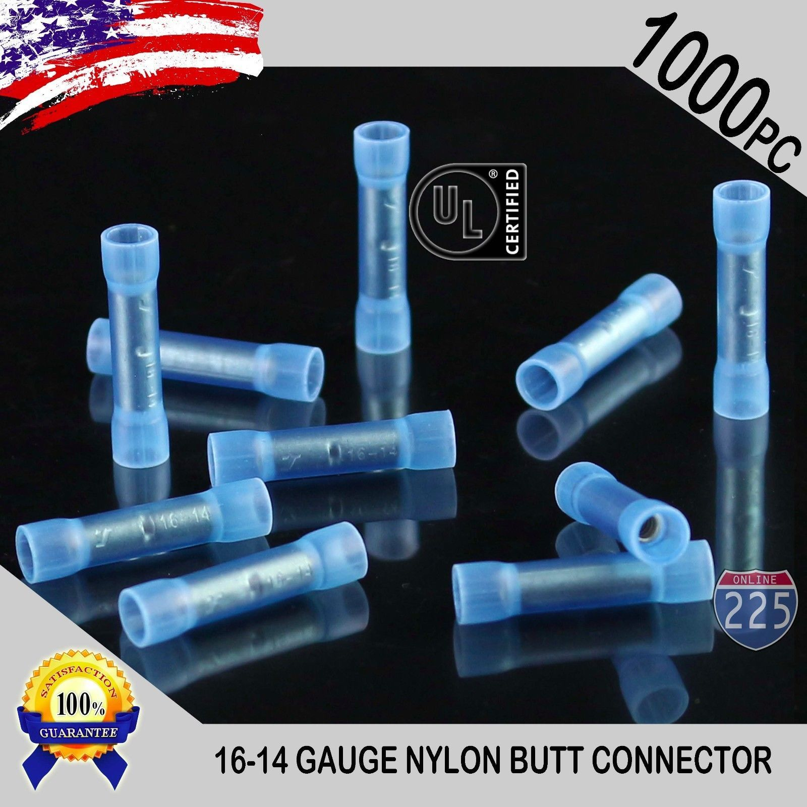 Connectors and Terminals: 1000 Pack 16-14 Gauge Wire Butt Connectors ...