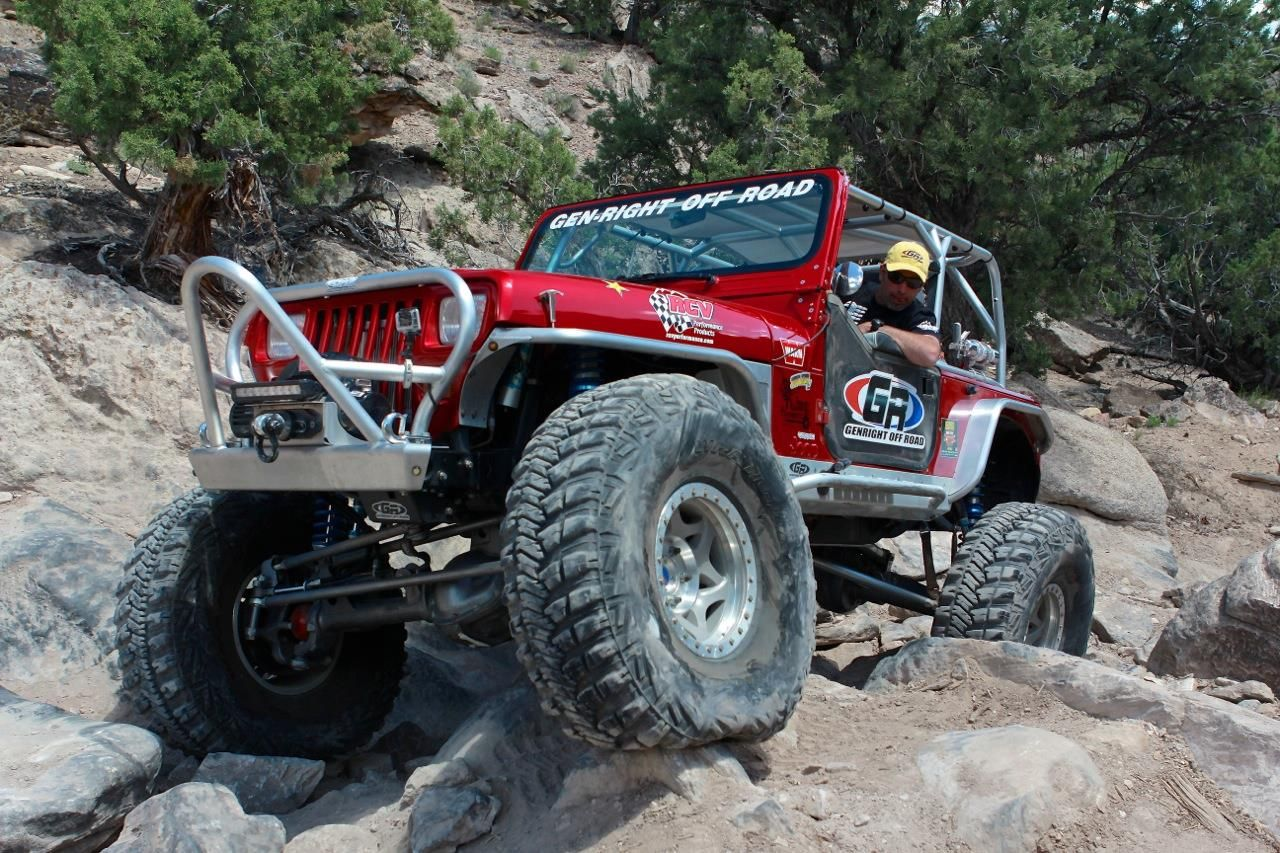 The Red Genright Jeep Yj With Tony Pellegrino Wheeling Through