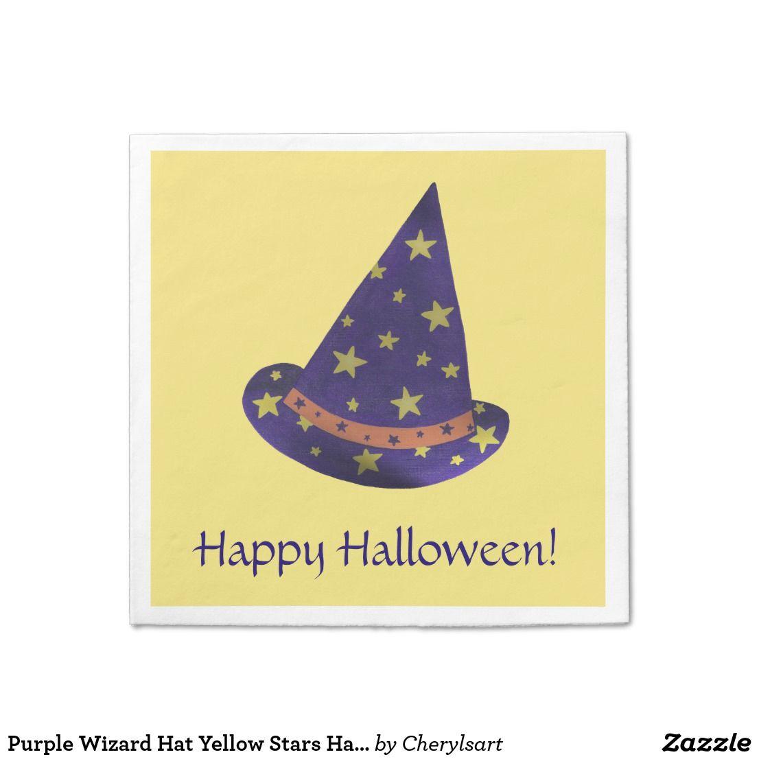 purple wizard hat yellow stars halloween napkins