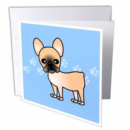 3drose Cute Black Masked Fawn Cream French Bulldog Blue with Pawprints - Greeting Card, 6 by 6-inch #frenchbulldogfullgrown