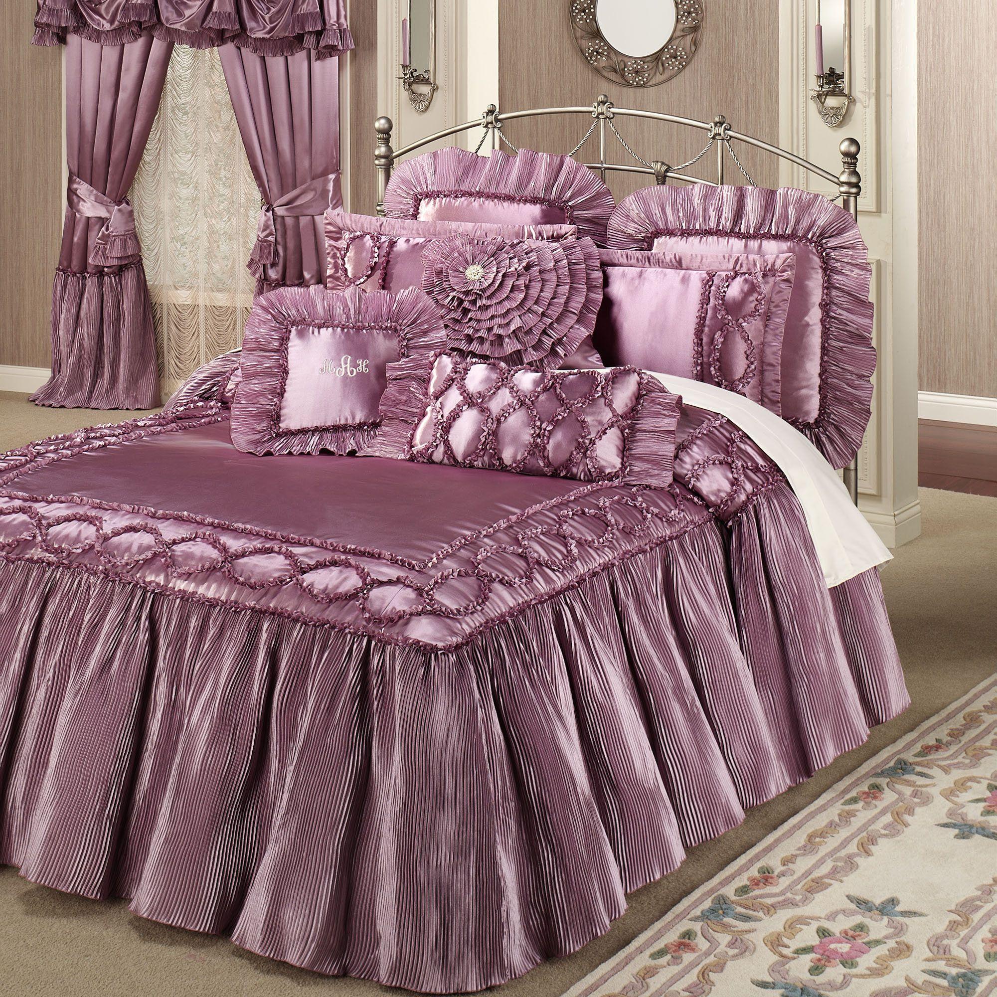 Ribbon embroidery bedspread designs - Marquis Flounce Grande Bedspread Orchid