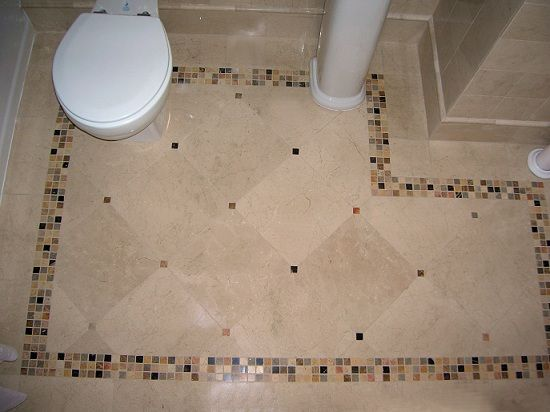 Bathroom Floor Tiles | Bathroom Floor This Design With Large White Tiles  And Black Accents