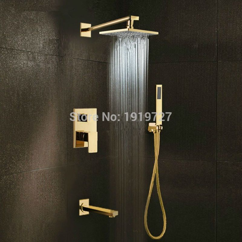 Gold Brass Rainfall Shower Head Widespread Waterfall Tub Mixer Tap ...