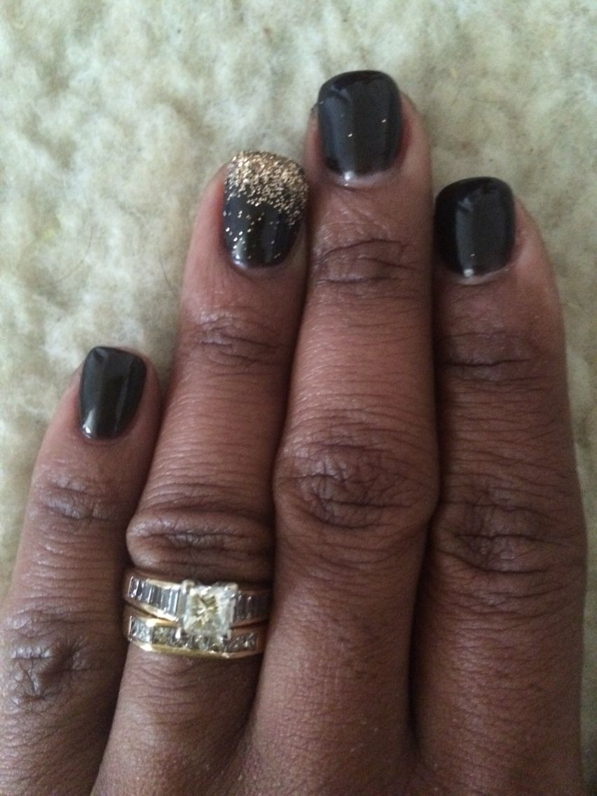 Black NexGen Dip with gold ombré on ring finger (byNatalie ...