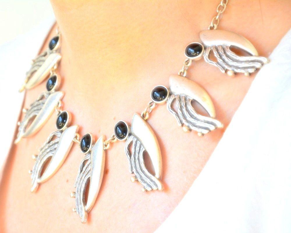 Black Onyx Gemstone Zinc Boho Short Bib Necklace, Abstract