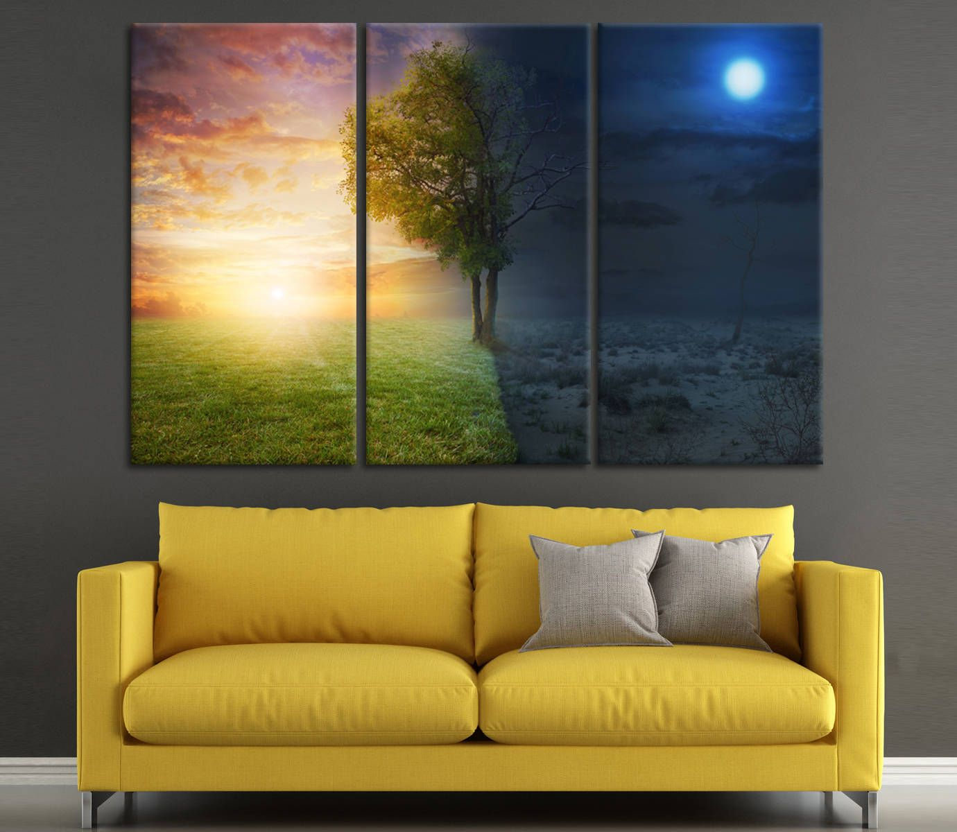 Surrealism Art Seasons art Summer and Winter or Night and day wall ...