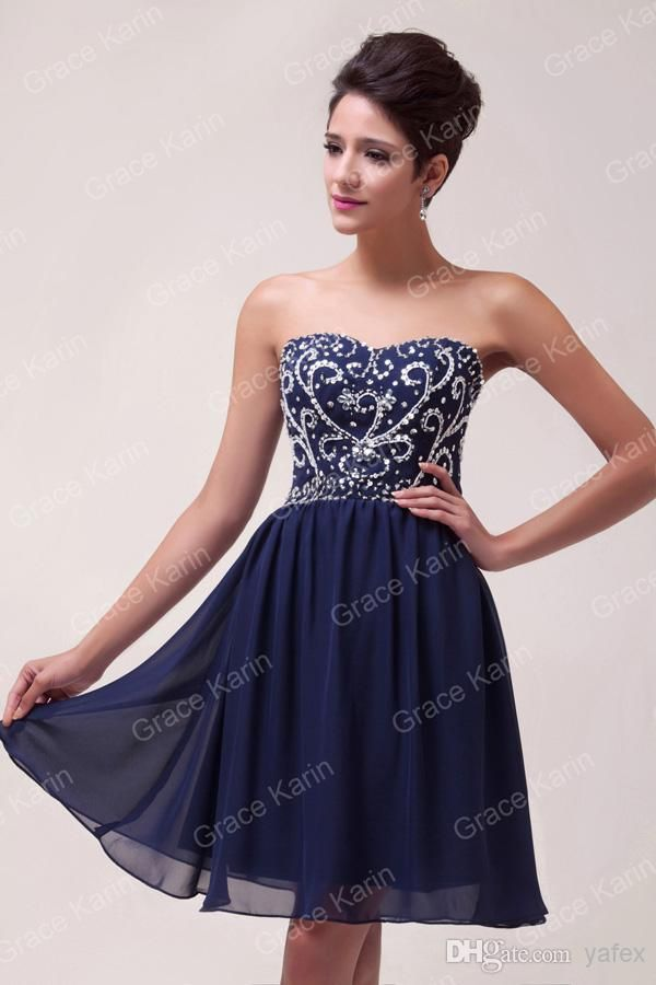Short Strapless Navy Dress