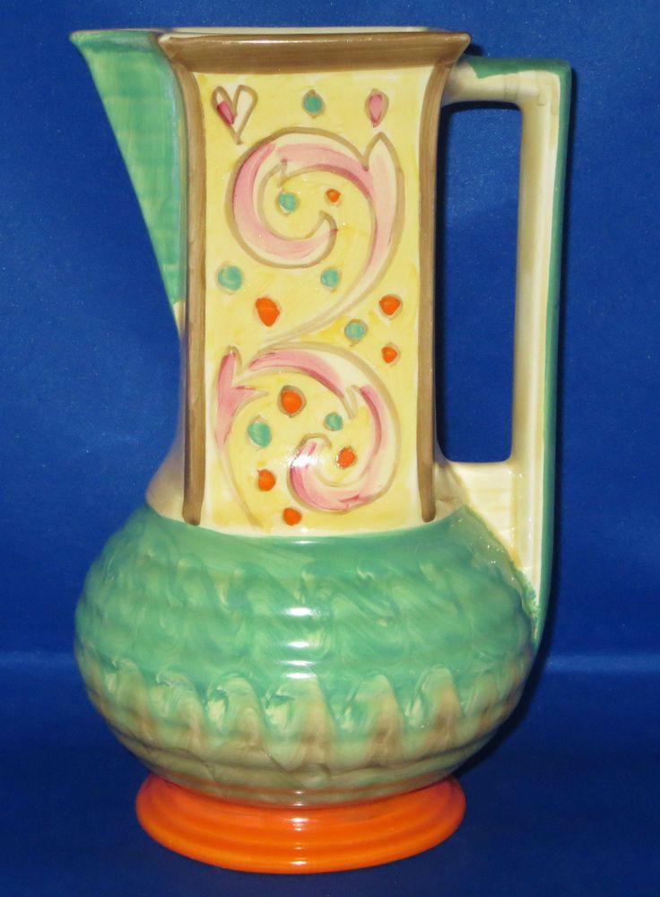 Art Deco Myott Large Tunisian Square Neck Jug Vase Handpainted