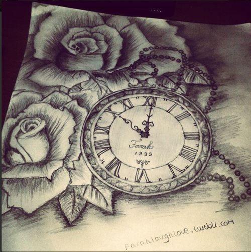 Rose Clock Tattoo Designs Drawing: Tattoos, Tattoo Drawings, Sleeve Tattoos