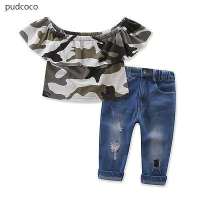 1a379fb6f5c Kids Girls Ruffle Outfits Clothes Off Shoulder Camouflage Tops Hole  Destroyed Jeans Pants Outfits Set Clothes 1-7Y #Affiliate